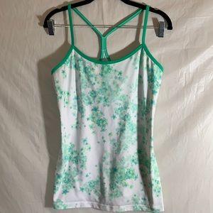 Lulululemon Green & White Floral Tank size 10